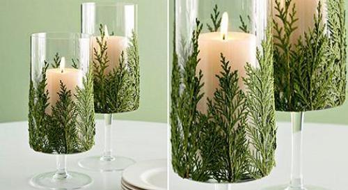 candelabros navideños con velas