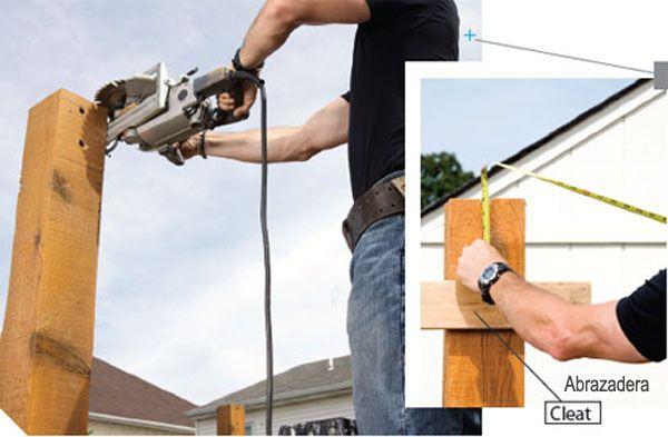 Construcción de una pérgola de madera - ajuste postes principales