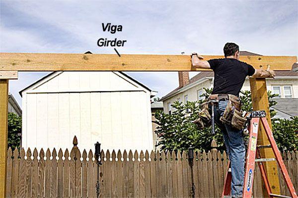 Construcción de una pérgola de madera - vigas maestras