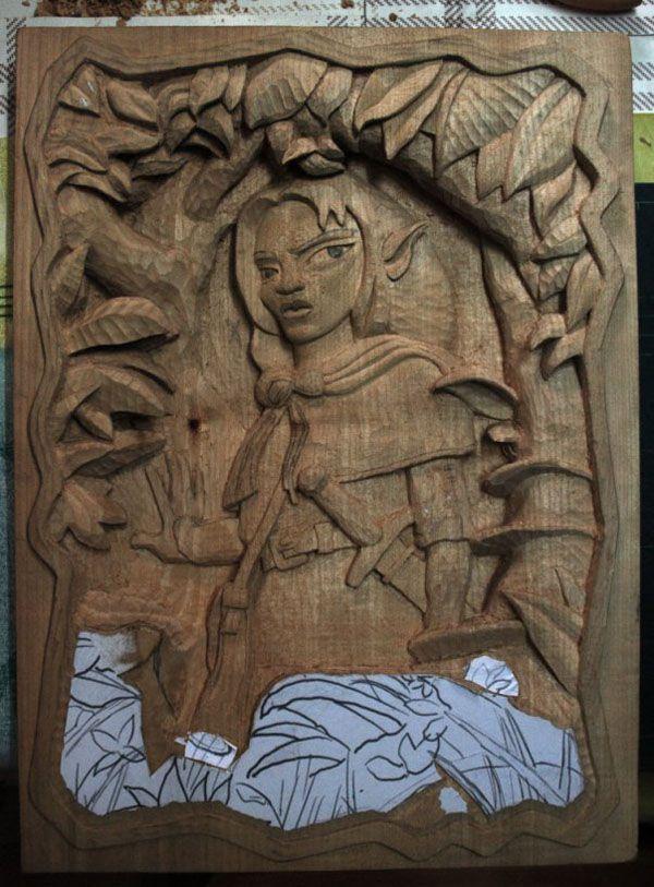 la tecnica del tallado en madera