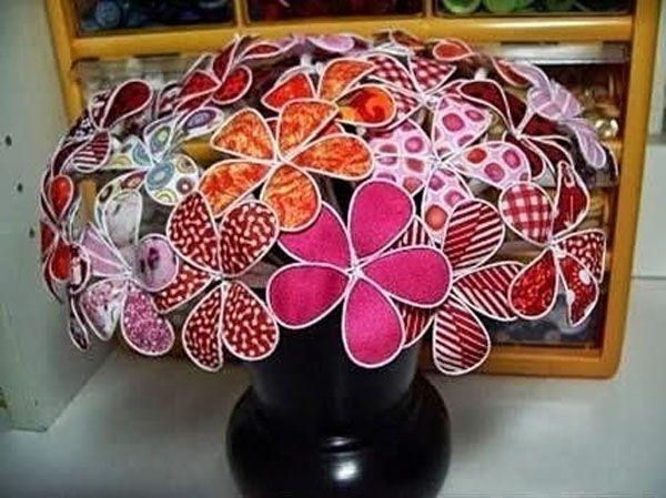 Originales flores con alambre y tejido original wire and - Manualidades faciles con tela ...