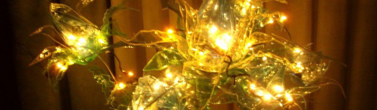 Flores lámpara con botellas de plástico