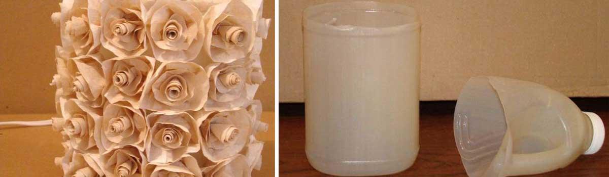 Manualidad lampara reciclando botellas pet