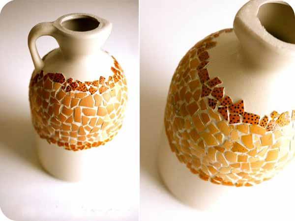 Jarron mosaico reciclando botella de plastico y cascaras