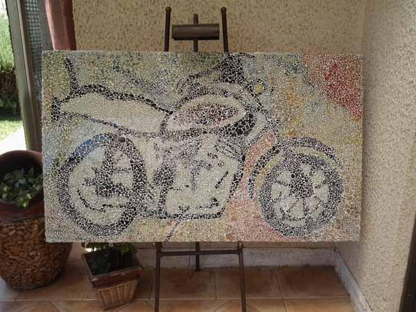 mosaico vitreo con cristal reciclado
