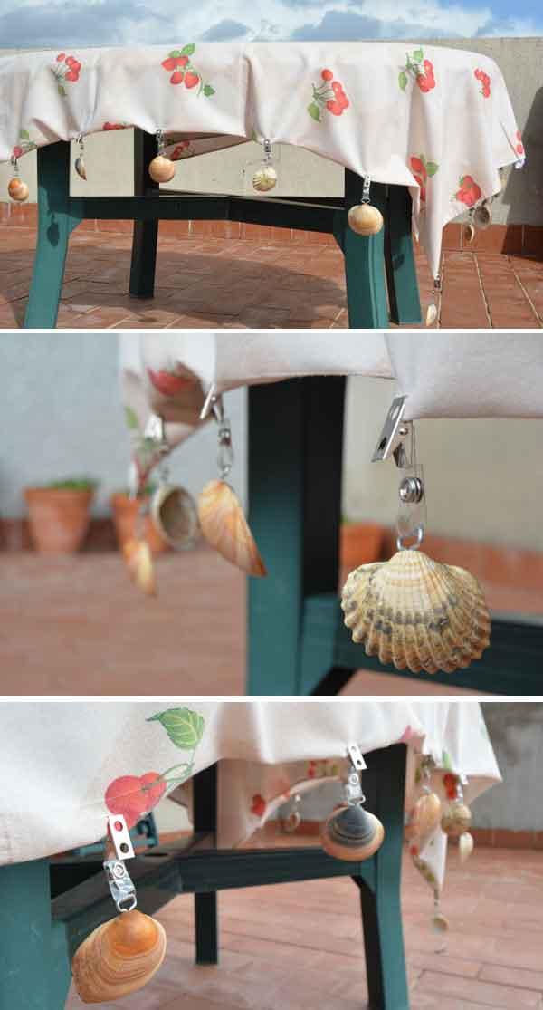 sujeta manteles para jardin con conchas 9