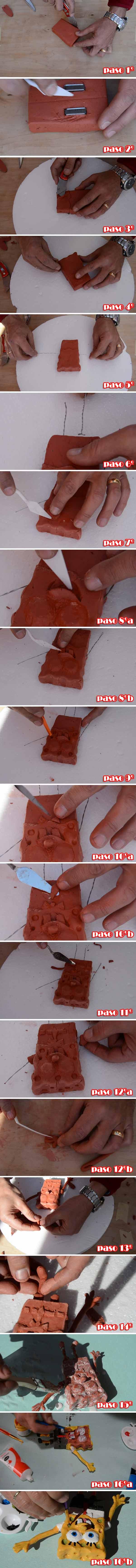 Bob Esponja modelado en 3D con arcilla 3 - fotos tutorial