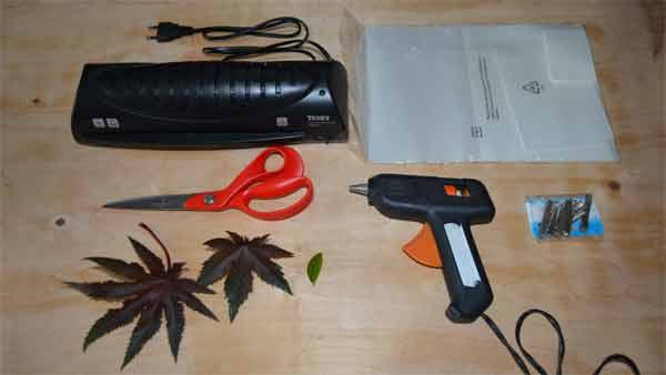 manualidades con hojas plastificadas Materiales