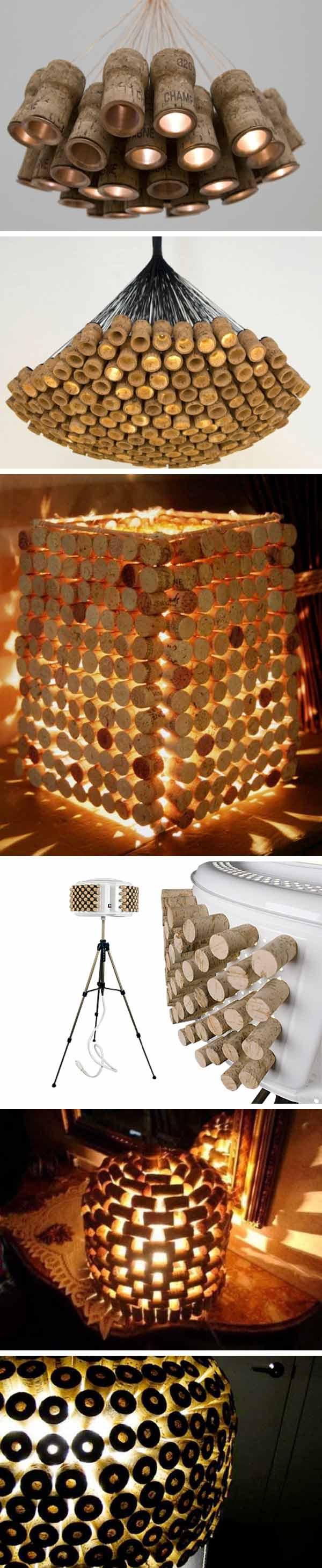 reciclar tapones de corcho - lamparas