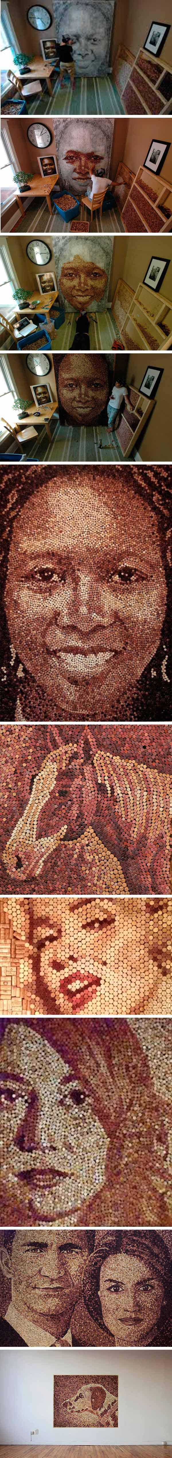 reciclar tapones de corcho - retratos