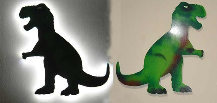 Dinosaurio decorativo infantil retroiluminado - destacada