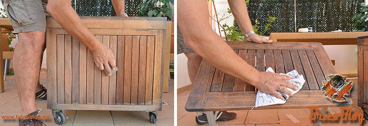 Como proteger la madera de exteriores - primer lijado - foto 3