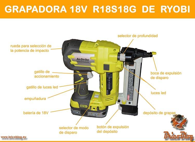 Clavadora a bateria de 18V Infografía Grapadora Ryobi R18S18G - foto 5